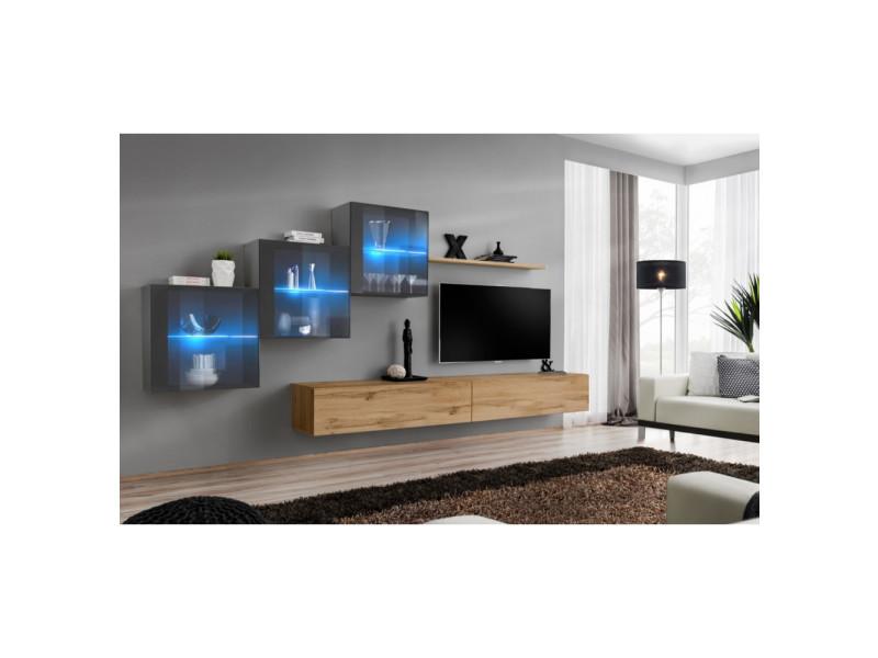 Ensemble mural - switch xx - 3 vitrines - 2 bancs tv - 1 étagère - bois et graphite - modèle 2