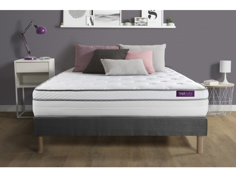 matelas sommier gris 160x200 memo luxe ressorts ensach s m moire de forme 5 zones de confort. Black Bedroom Furniture Sets. Home Design Ideas