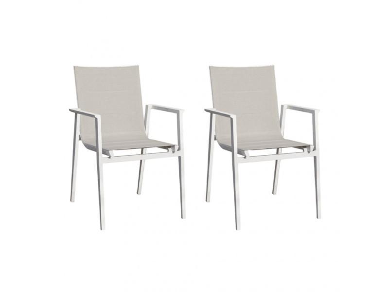 Lot de 2 chaises de jardin aluminium et tissu textilène gris - atlan