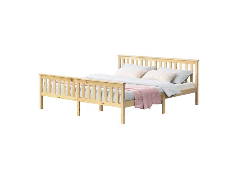 Cadre de lit design pour adultes en bois de pin à sommier à lattes lit double capacité de charge 200 kg 180 x 200 cm bois naturel [en.casa]