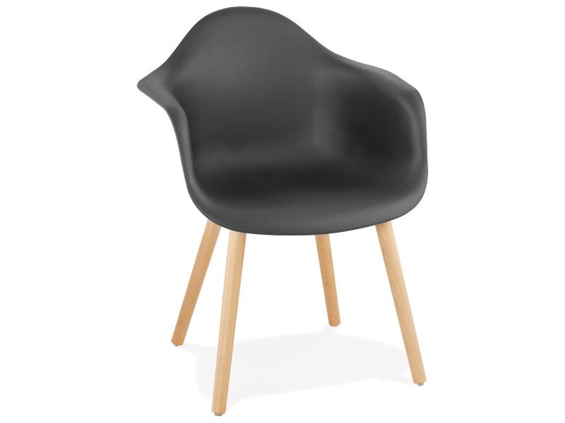 Chaise design en polypropylène et bois coloris noir - l55 x l62 x h80 cm - usage professionnel -pegane-