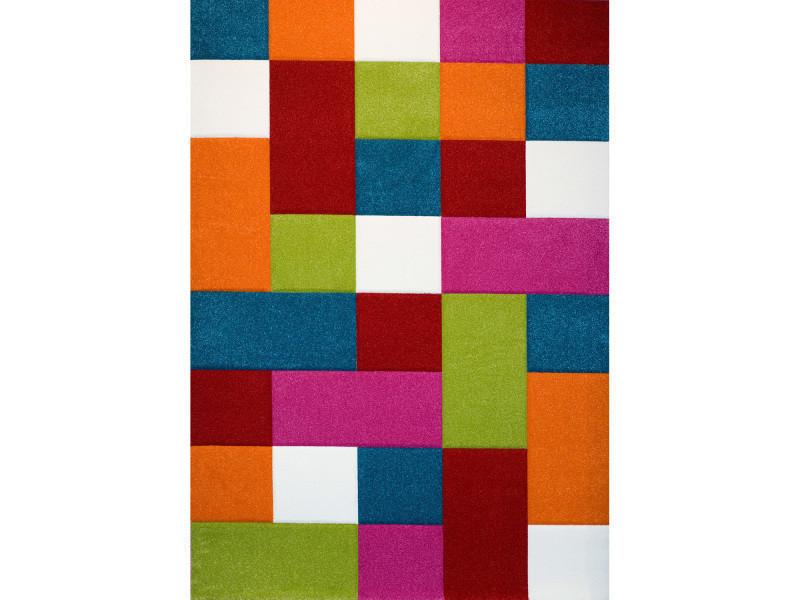 Tapis géométrique et coloré pour le salon kids carreaux bleu, orange ...