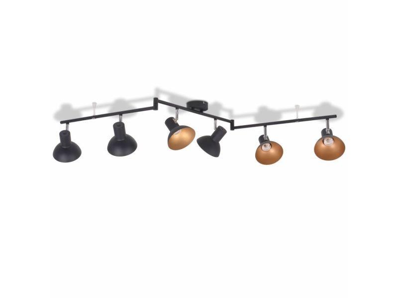 Icaverne - plafonniers famille plafonnier pour 6 ampoules e27 noir et doré