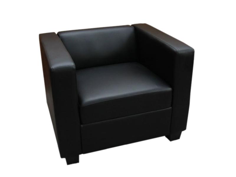 Fauteuil club / lounge lille, 86x75x70cm, simili-cuir, noir