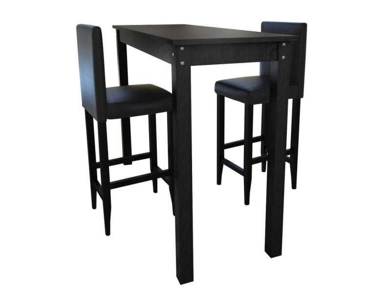 Lot de 2 tabourets de bar avec table haute helloshop26 for Table haute cuisine et tabouret