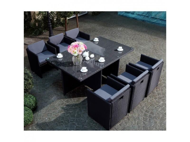 Magnifique salon de jardin florida 6 noir/gris : salon encastrable 6 ...