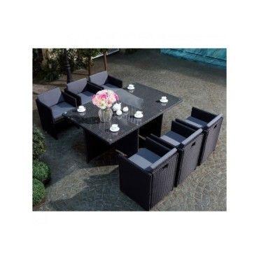 Magnifique salon de jardin florida 6 noir/gris : salon encastrable ...