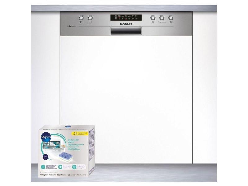 Lave-vaisselle intégrable encastrable bandeau inox 47db 12 couverts 60cm départ différé
