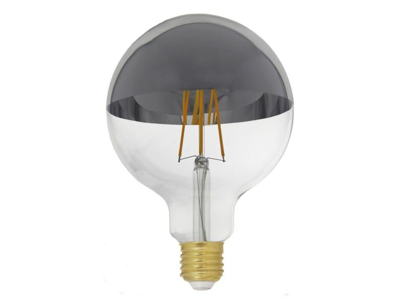 Ampoule e27 led filament dimmable 8w g125 globe reflect argent - blanc chaud 2300k - 3500k - silamp