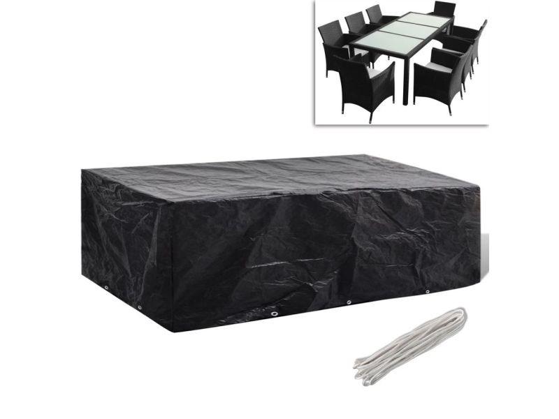 Inedit accessoires pour meubles d'extérieur gamme phnom penh housse à 10 œillets 300x140cm pour salon de jardin en polyrotin 8 pers