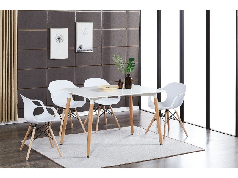 Table blanche & 4 chaises modernes blanches alecia halo