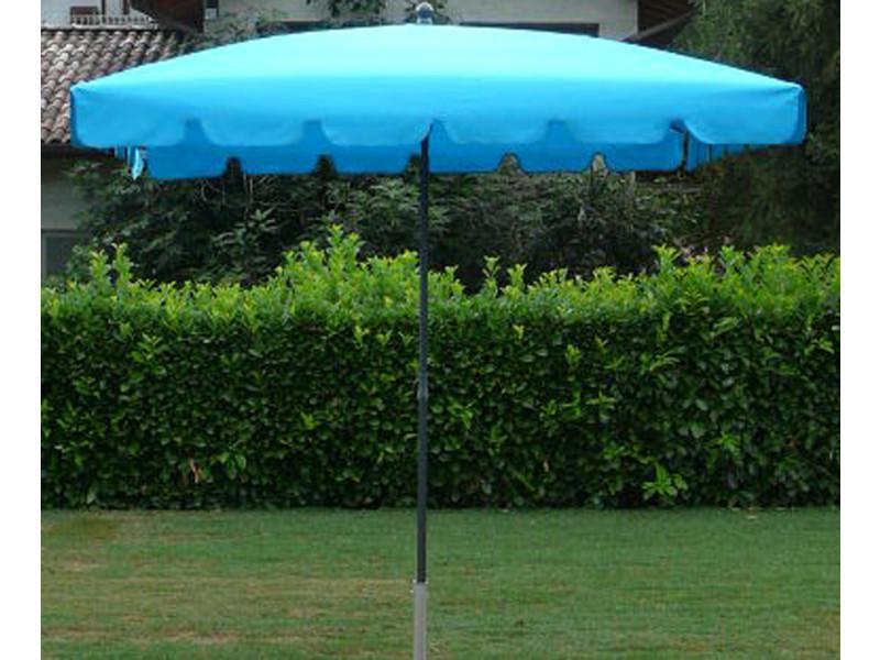 Parasol rectangulaire centré coloris turquoise - dim : h 250 x d 240 x 160/4 cm - pegane -