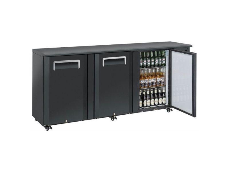Arrière bar réfrigéré portes pleines en skinplate anthracite - qb - r2904 portes550pleine/battante