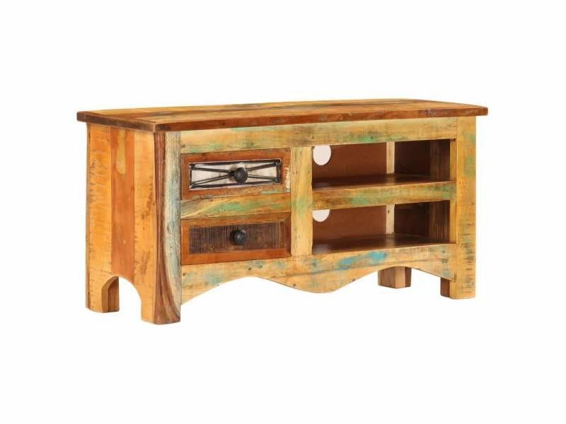 Meuble télé buffet tv télévision design pratique 80 cm bois de récupération massif helloshop26 2502084