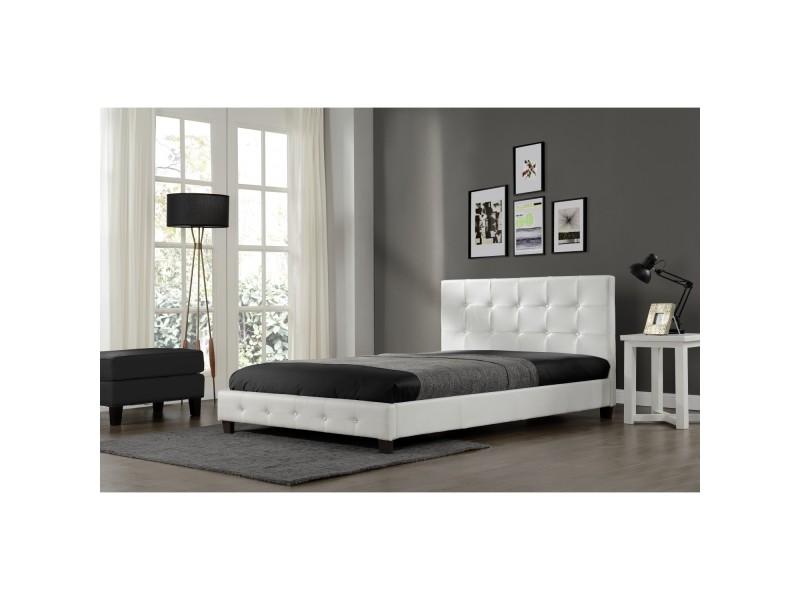 Lit notting hill - cadre de lit en pu capitonné blanc - 140x190cm