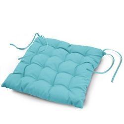 Coussin de chaise assise matelassé 40 x 40 cm bleu turquoise