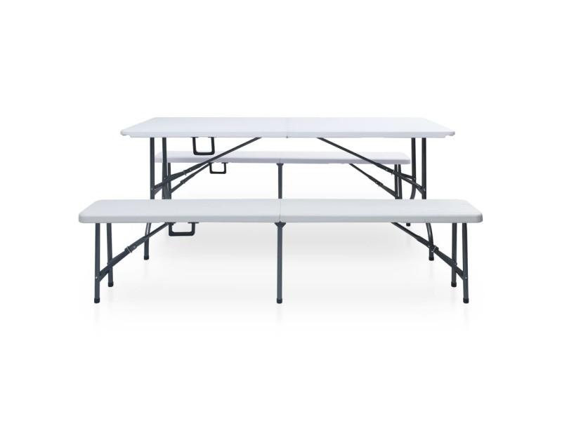 Icaverne - salons de jardin gamme table pliable de jardin avec 2 bancs 180 cm acier et pehd blanc