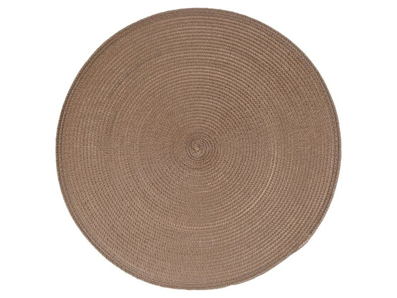 Set de table tressé rond - diam. 38 cm - taupe
