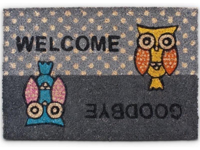 Paillasson tapis porte d'entrée essuie-pieds fibre de coco gris 60 x 40 cm helloshop26 2013028
