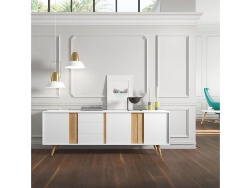 Elegant buffet bas tiroirs et portes collection huez en bois laqu blanc et chne pieds with - Buffet noir conforama ...