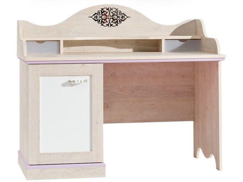 Bureau baroque pour fille coloris bois naturel et blanc p 5007 co