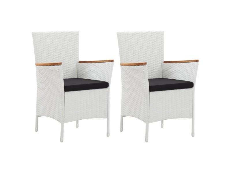 Admirable sièges de jardin ligne téhéran chaises de jardin 2 pcs blanc résine tressée