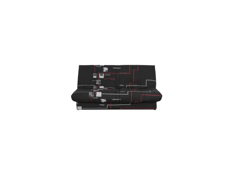 Banquette clic clac 120 x 190 cm - tissu noir - l 195 x p 90 x h 84 cm - dioplac DIOPLACESCC