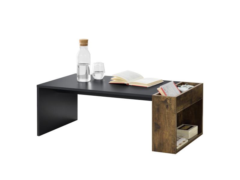 Table basse design pour salon meuble stylé avec compartiments de stockage en panneau de particules mélaminé 34 x 95 x 50 cm noir chêne foncé [en.casa]