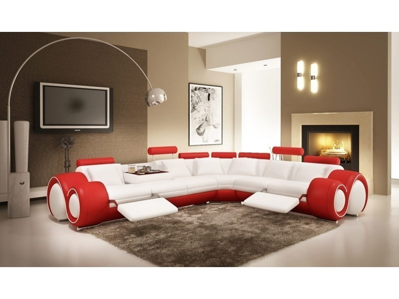 Canapé d'angle cuir blanc et rouge + positions relax oslo (droit)-