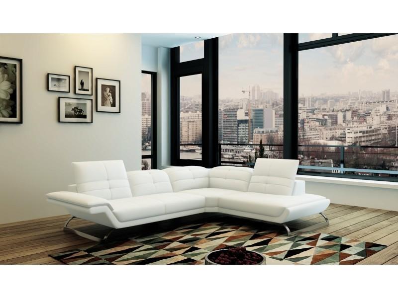 Canapé d'angle design en cuir blanc aurore (angle droit)-
