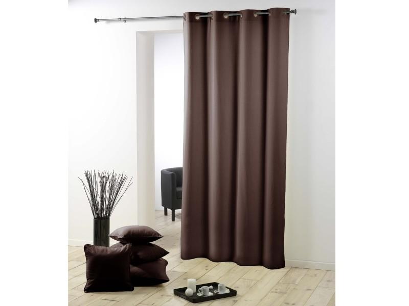 Rideau a oeillets plastique polyester uni essentiel marron 140 x 260 cm 1600531-brun