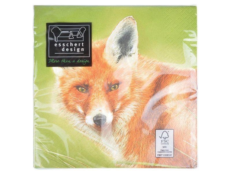 Serviette en papier de soie avec motifs (lot de 20) renard