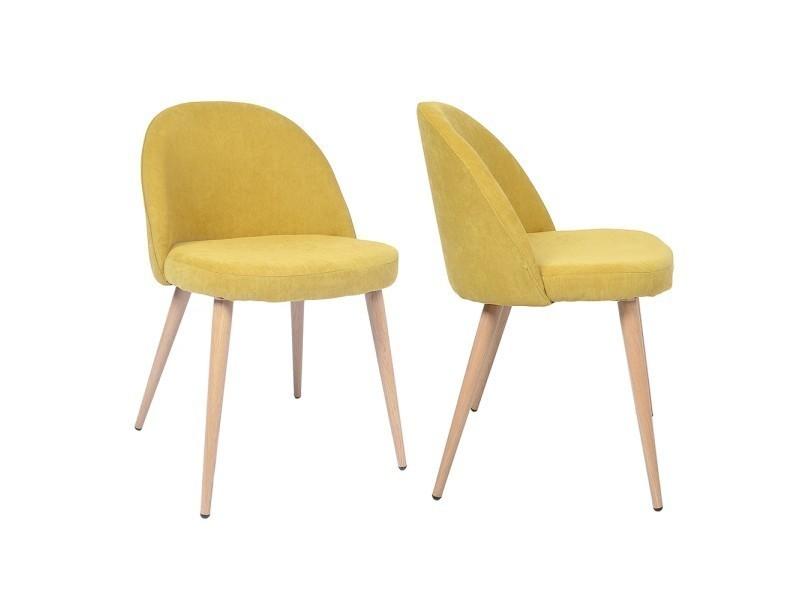 chaise vintage tissu jaune lot de 2 vente de ego design conforama. Black Bedroom Furniture Sets. Home Design Ideas
