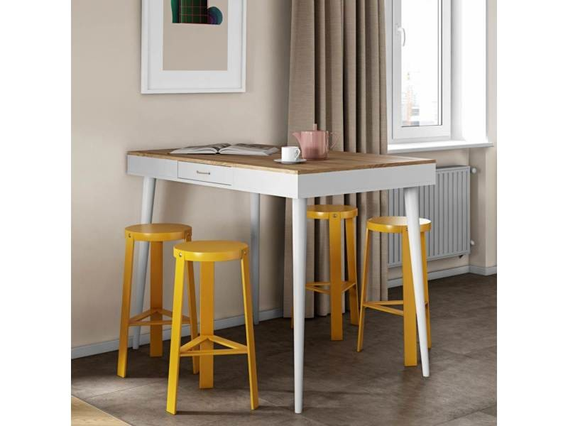 Table haute horizon chêne naturel et blanc 134 x 101,1