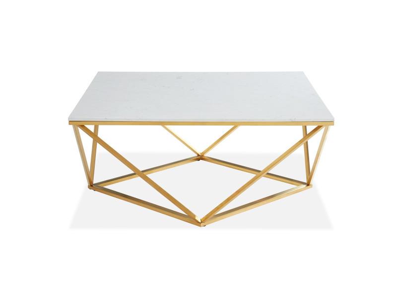 Table basse carrée marbre blanc & métal doré - roxy - elle decoration