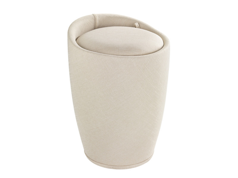 détaillant en ligne a7628 1c0a2 Coffre à linge et tabouret coloris beige aspect lin - dim ...