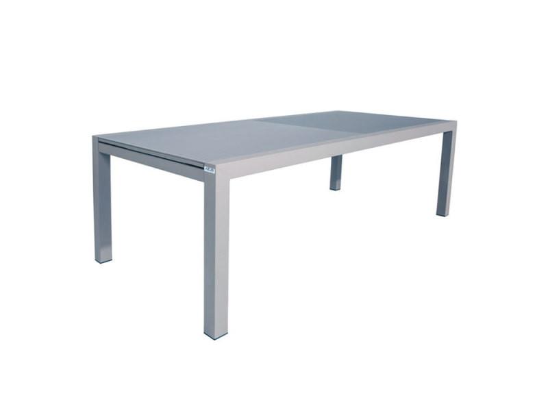 Table alu gris verre gris 220/330x106 cm murray
