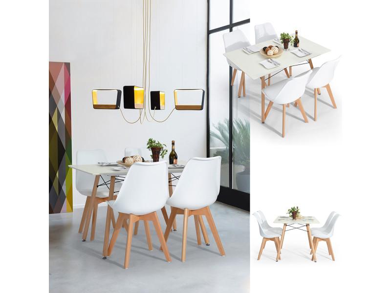 Ensemble table chaises 4 places scandinave blanches plastique bois