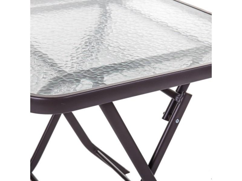 Table de jardin pliante carrée en acier marron et verre ...