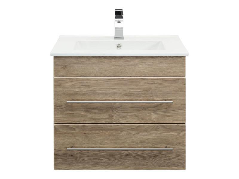 Meuble salle de bain milet décor chêne MILET000214DE - Vente de Meuble et rangement - Conforama