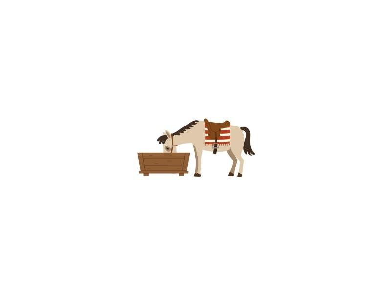 Decoloopio - sticker enfant : cheval qui boit - format : 34 x 17 cm - 34 x 17 cm