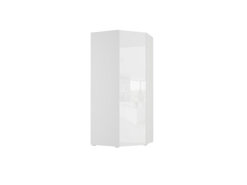Bellio - armoire d'angle - penderie + 4 tablettes - mobilier chambre ado enfant - 201.5x92x82.5 - porte finition laquée - blanc