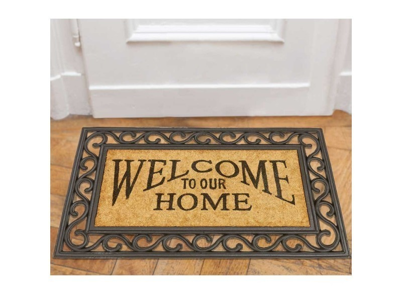 Tapis Chambre Paillasson Coco Welcome To Our Home Marron 45 X 75
