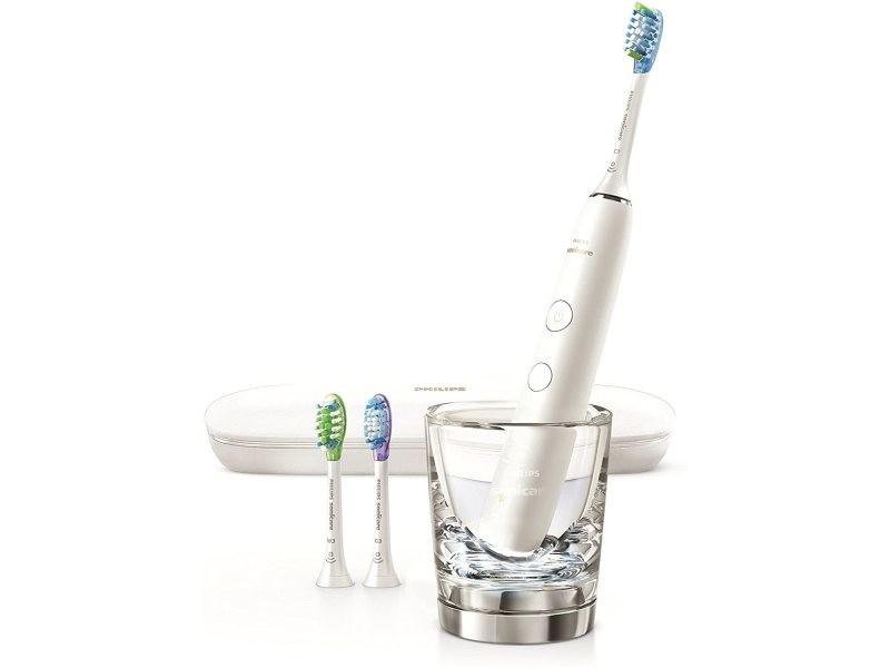 Brosse à dents électrique diamond clean smart avec app et têtes avec capteurs sans fil blanc gris