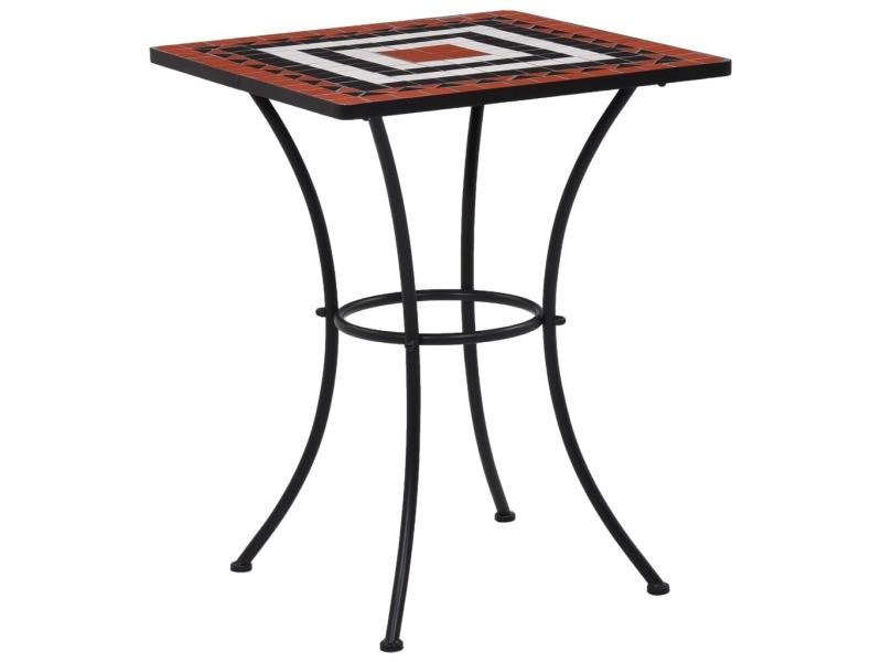 Distingué mobilier de jardin serie guatemala table de bistro mosaïque terre cuite et blanc 60 cm céramique