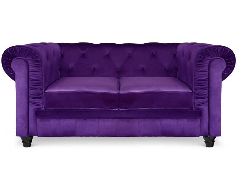 canap 2 places chesterfield velours violet vente de. Black Bedroom Furniture Sets. Home Design Ideas