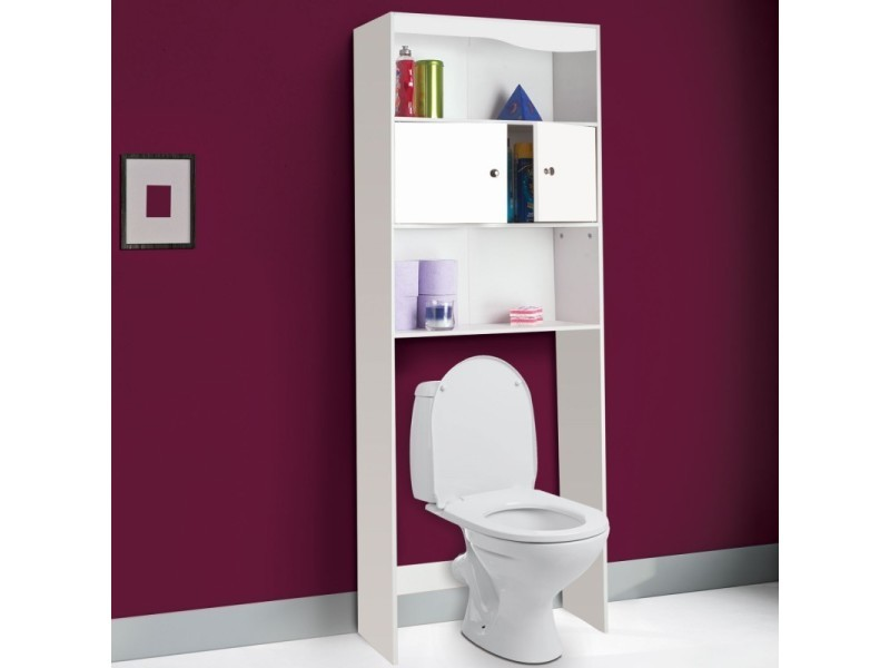meuble tag re dessus wc bois coloris blanc vente de id market conforama. Black Bedroom Furniture Sets. Home Design Ideas