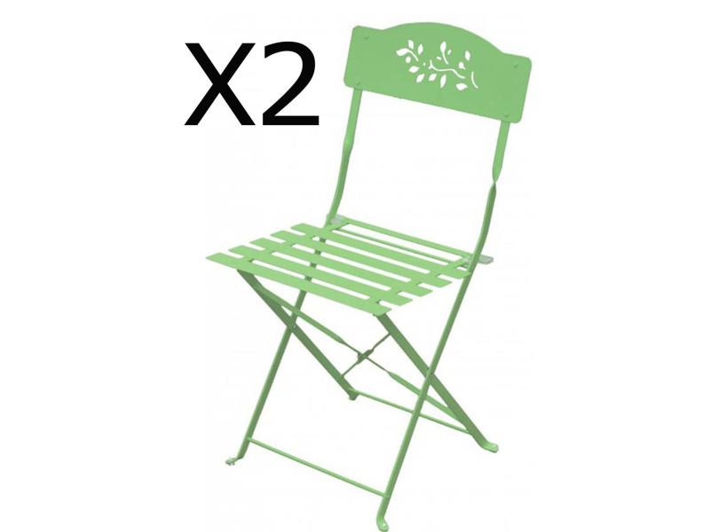 Lot de 2 chaises pliantes de jardin en acier et textilène, coloris pomme -pegane-