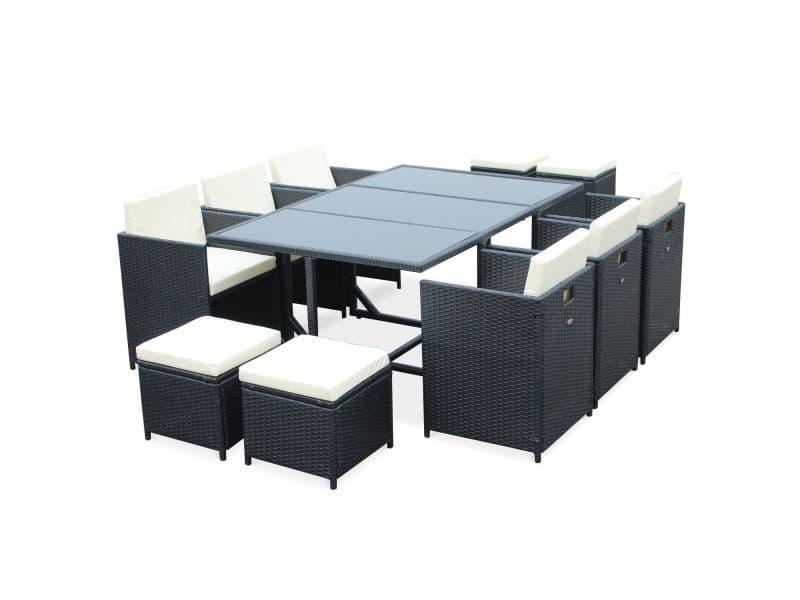 Salon de jardin cubo noir table en résine tressée 6 à 10 places ...