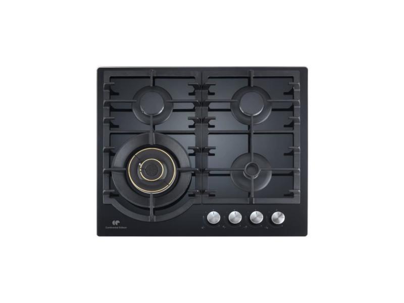 - cectg4bd - table de cuisson gaz - 4 foyers - l56 x p48 cm - verre noir CECTG4BD